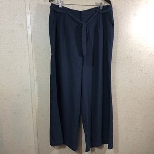 Modcloth Wide Leg Trouser Pleated Pants Navy Blue